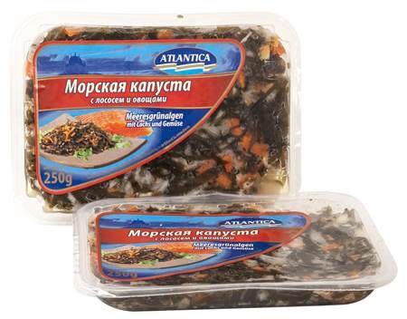 Морская капуста с лососем и овощами