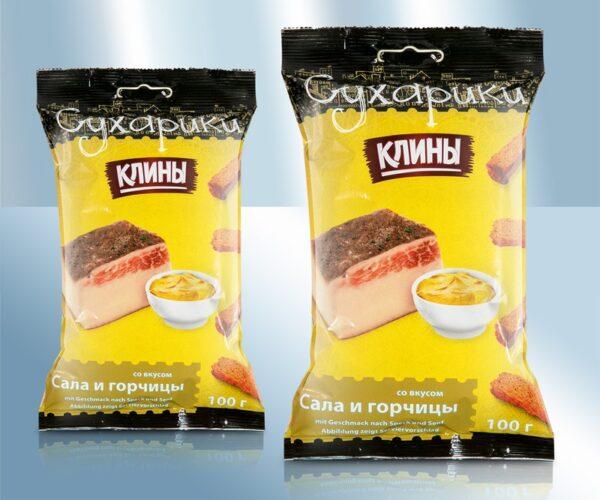 Сухарики со вкусом сала и горчицы